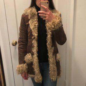 Jackets & Blazers - Brown Suede shearling coat